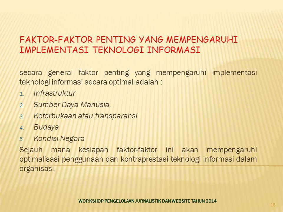 Faktor-faktor Penting Yang Mempengaruhi Implementasi Teknologi Informasi