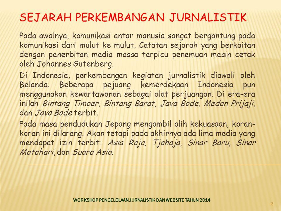 Sejarah Perkembangan Jurnalistik