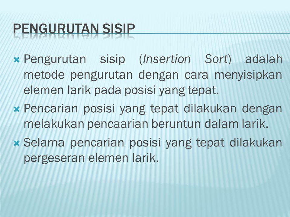 Pengurutan Sisip Pengurutan sisip (Insertion Sort) adalah metode pengurutan dengan cara menyisipkan elemen larik pada posisi yang tepat.