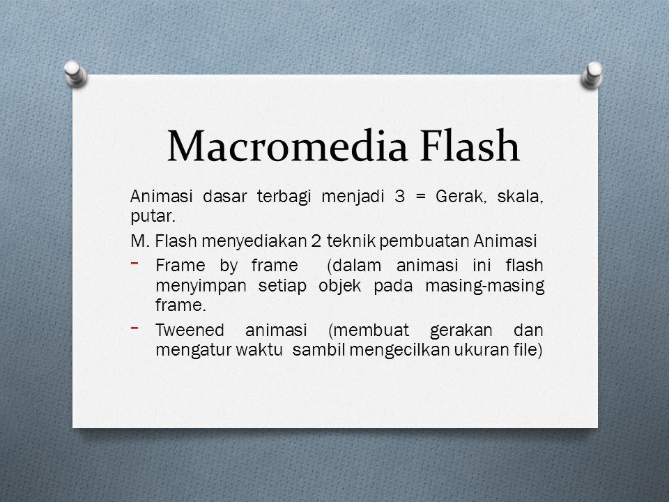 Macromedia Flash Animasi dasar terbagi menjadi 3 = Gerak, skala, putar. M. Flash menyediakan 2 teknik pembuatan Animasi.