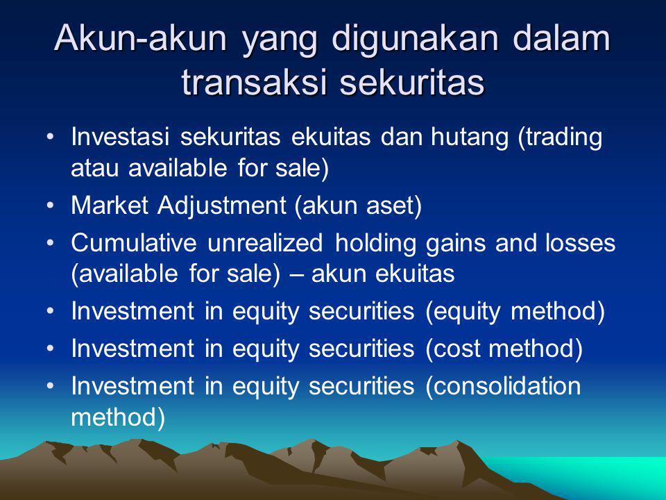 Akun-akun yang digunakan dalam transaksi sekuritas