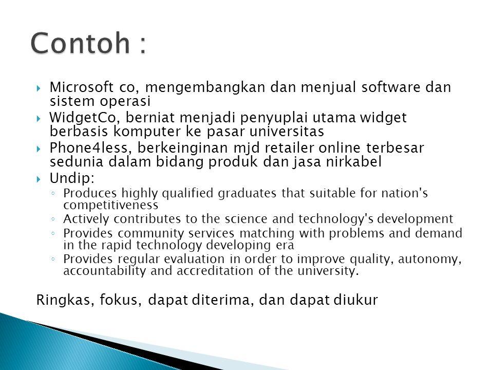 Contoh : Microsoft co, mengembangkan dan menjual software dan sistem operasi.