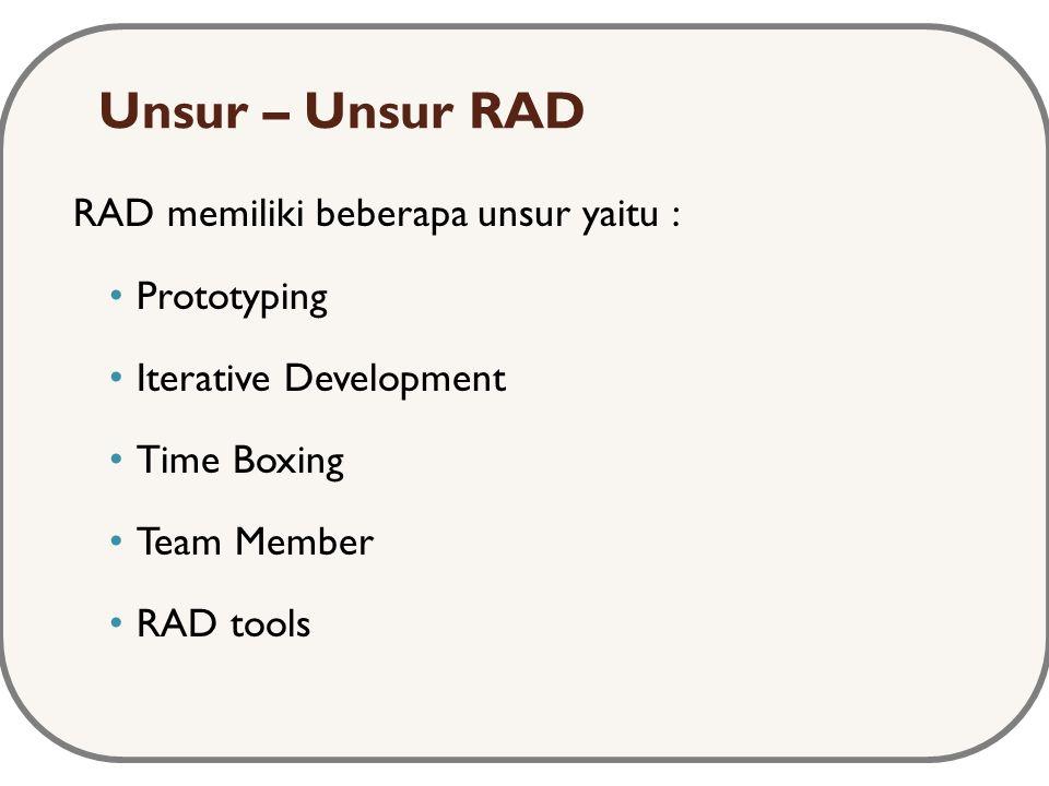 Unsur – Unsur RAD RAD memiliki beberapa unsur yaitu : Prototyping