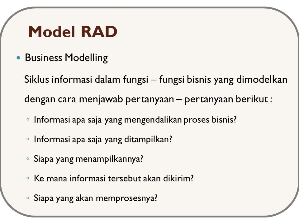 Model RAD Business Modelling