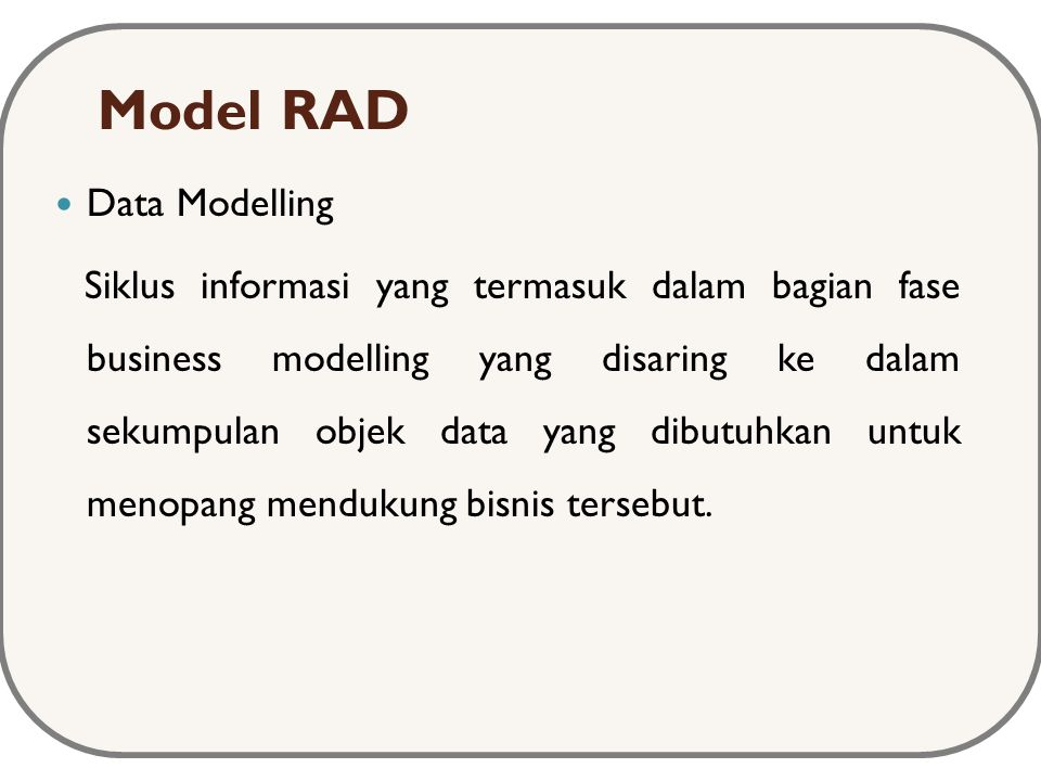Model RAD Data Modelling