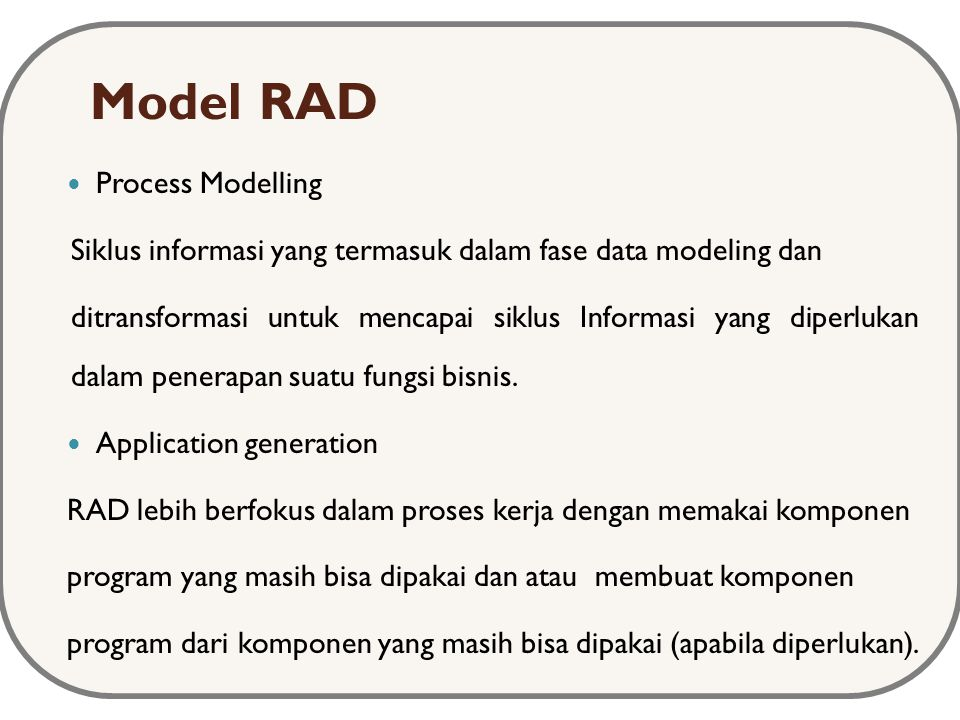 Model RAD Process Modelling