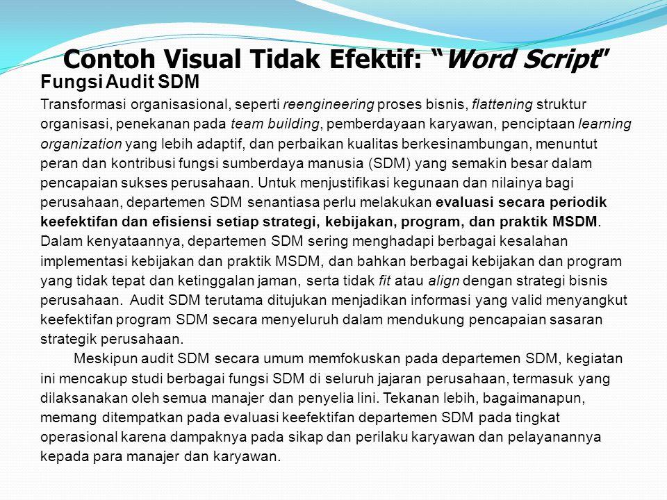 Contoh Visual Tidak Efektif: Word Script