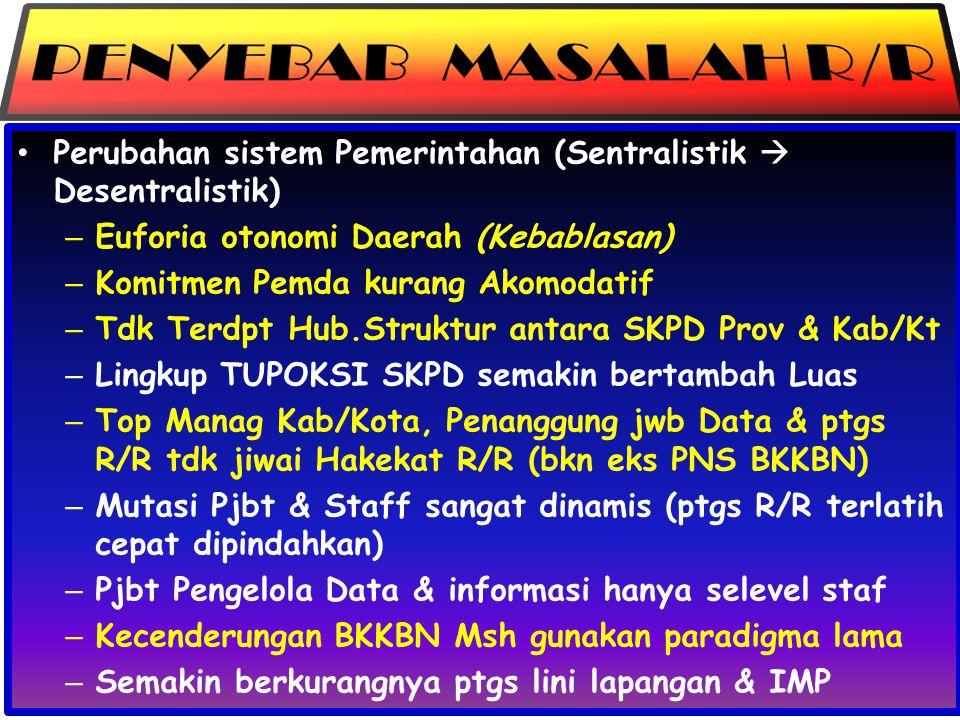 PENYEBAB MASALAH R/R Perubahan sistem Pemerintahan (Sentralistik  Desentralistik) Euforia otonomi Daerah (Kebablasan)