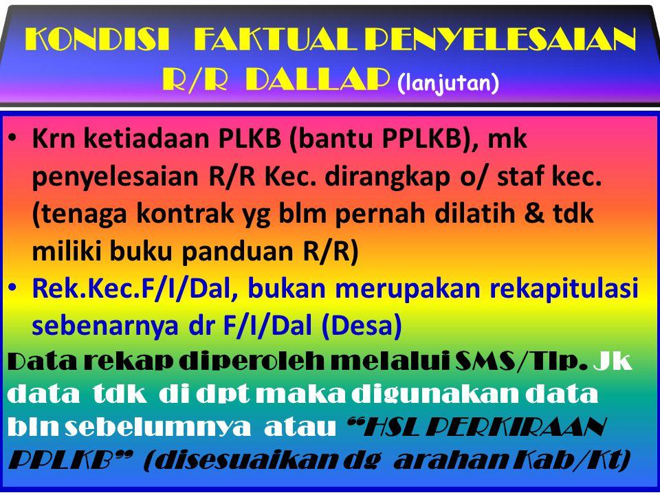 KONDISI FAKTUAL PENYELESAIAN R/R DALLAP (lanjutan)