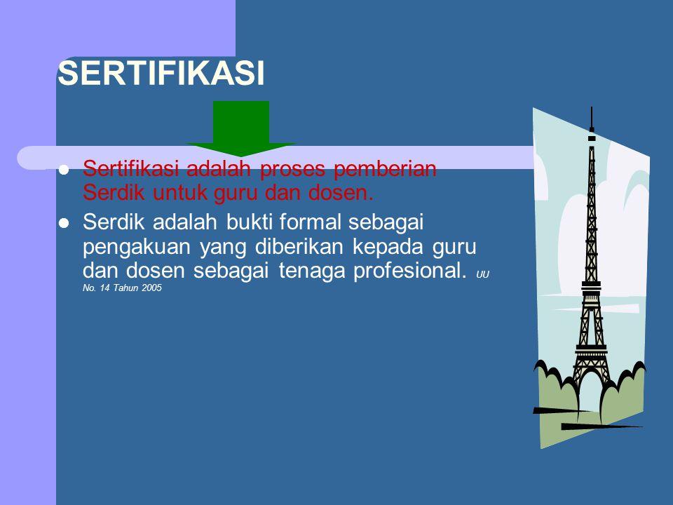 SERTIFIKASI Sertifikasi adalah proses pemberian Serdik untuk guru dan dosen.