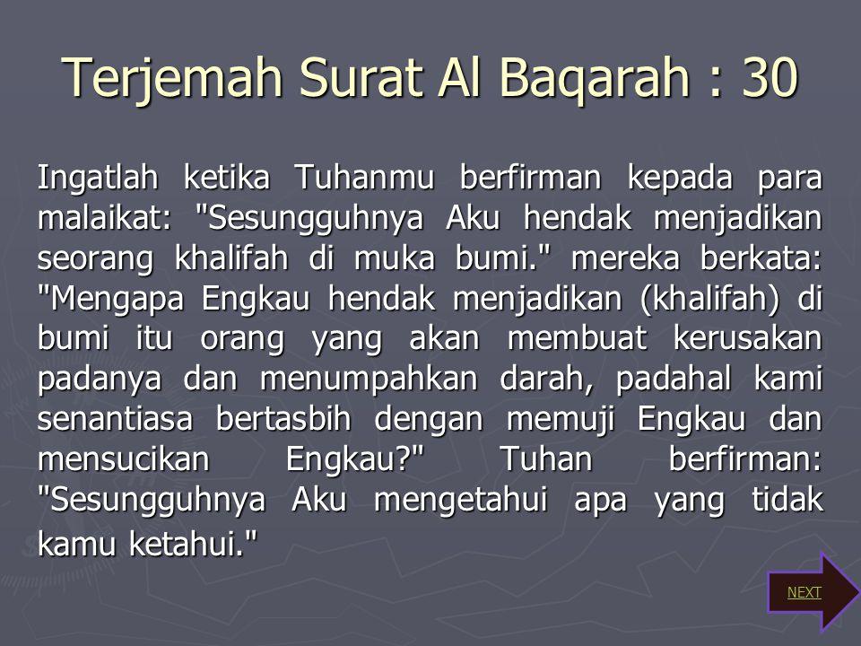 Terjemah Surat Al Baqarah : 30