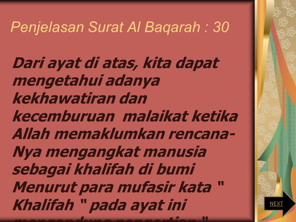 Penjelasan Surat Al Baqarah : 30