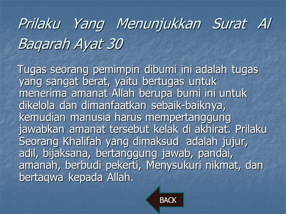 Prilaku Yang Menunjukkan Surat Al Baqarah Ayat 30