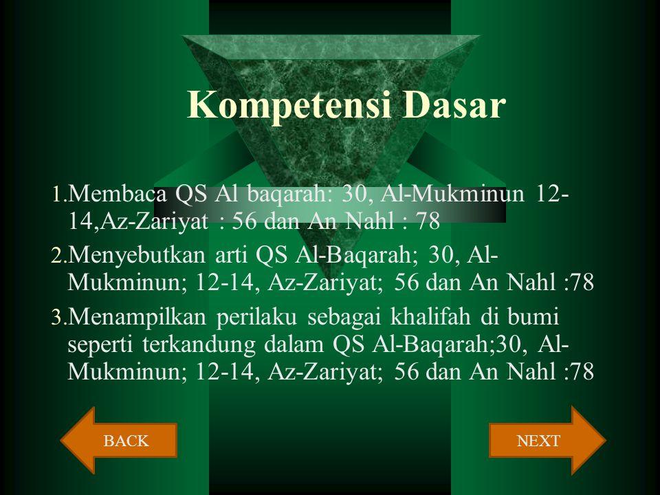 Kompetensi Dasar Membaca QS Al baqarah: 30, Al-Mukminun 12-14,Az-Zariyat : 56 dan An Nahl : 78.