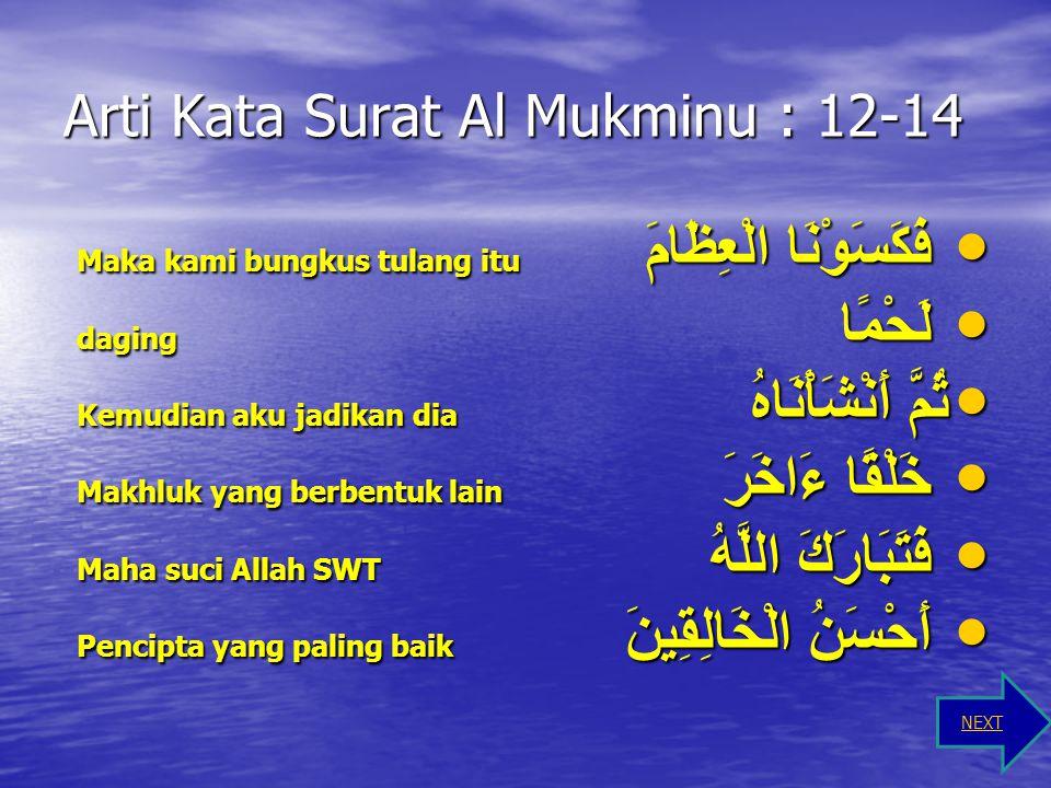 Arti Kata Surat Al Mukminu : 12-14