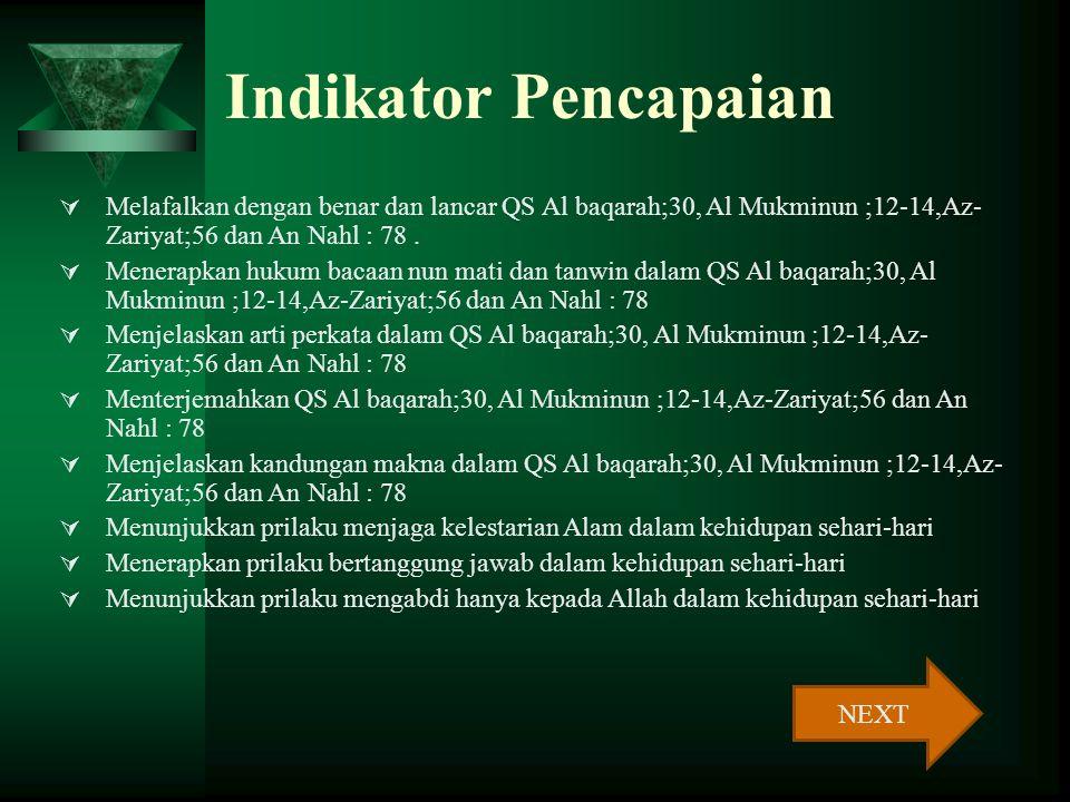 Indikator Pencapaian Melafalkan dengan benar dan lancar QS Al baqarah;30, Al Mukminun ;12-14,Az-Zariyat;56 dan An Nahl : 78 .