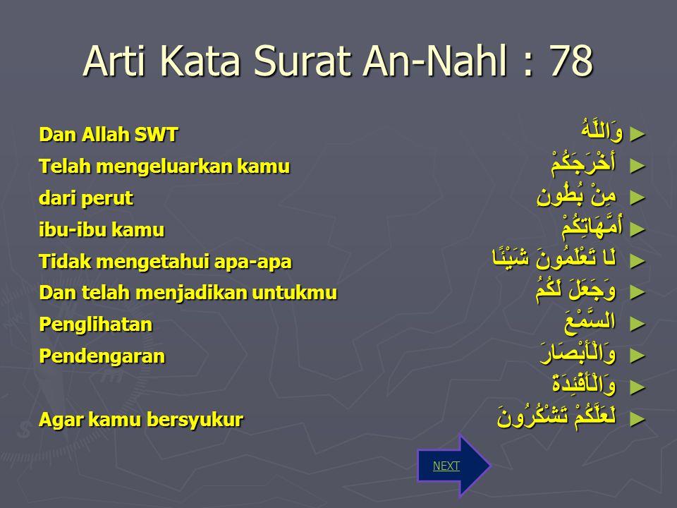 Arti Kata Surat An-Nahl : 78