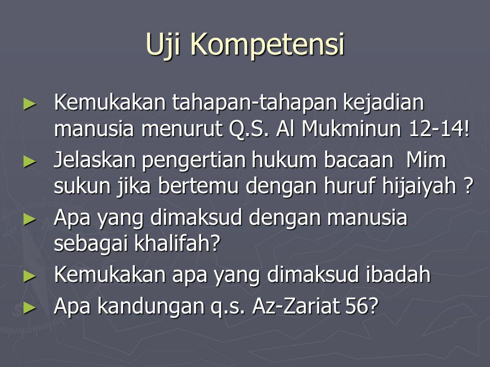 Uji Kompetensi Kemukakan tahapan-tahapan kejadian manusia menurut Q.S. Al Mukminun 12-14!