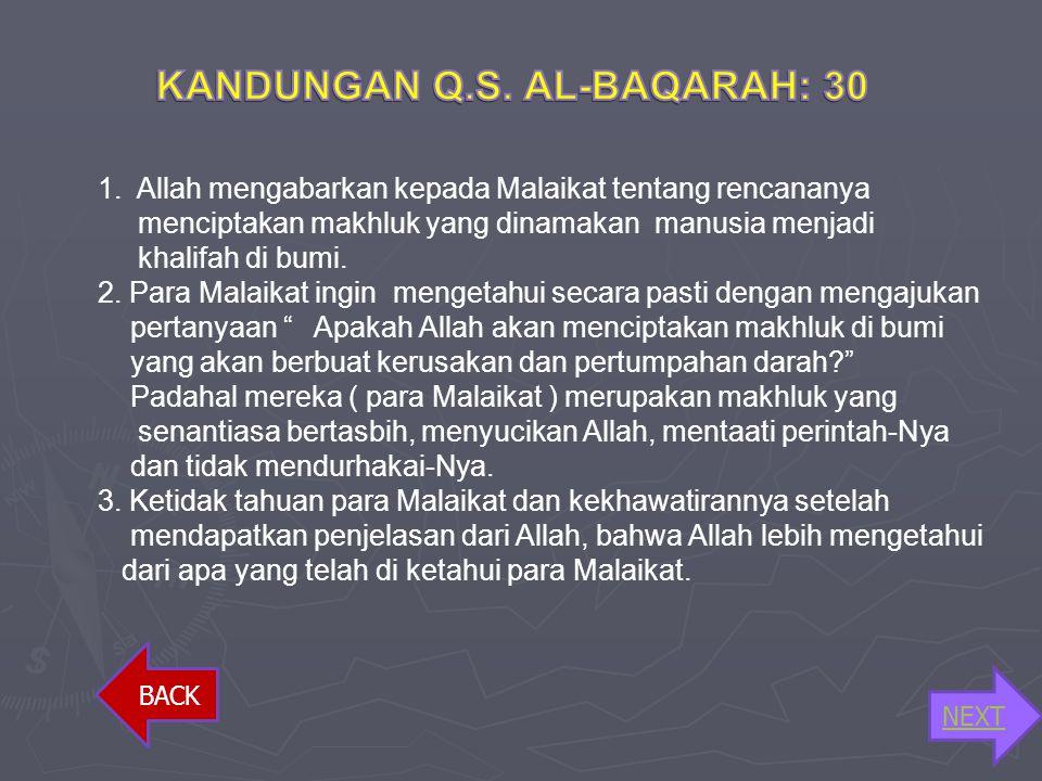 KANDUNGAN Q.S. AL-BAQARAH: 30