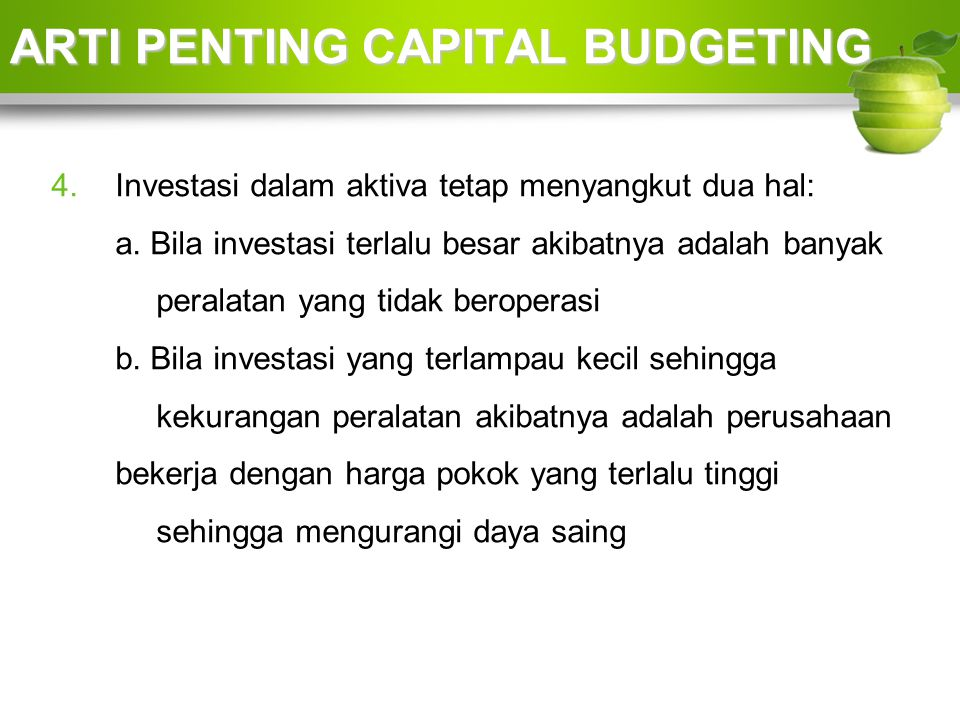 ARTI PENTING CAPITAL BUDGETING