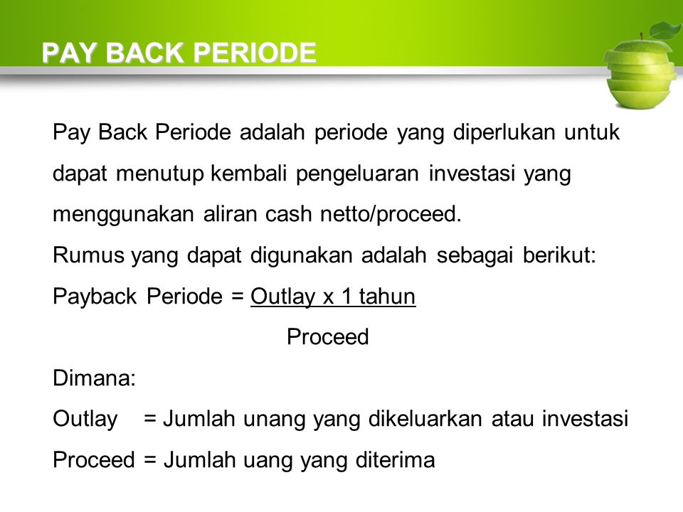 PAY BACK PERIODE
