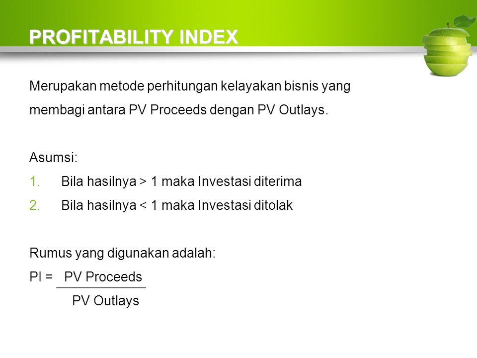 PROFITABILITY INDEX Merupakan metode perhitungan kelayakan bisnis yang