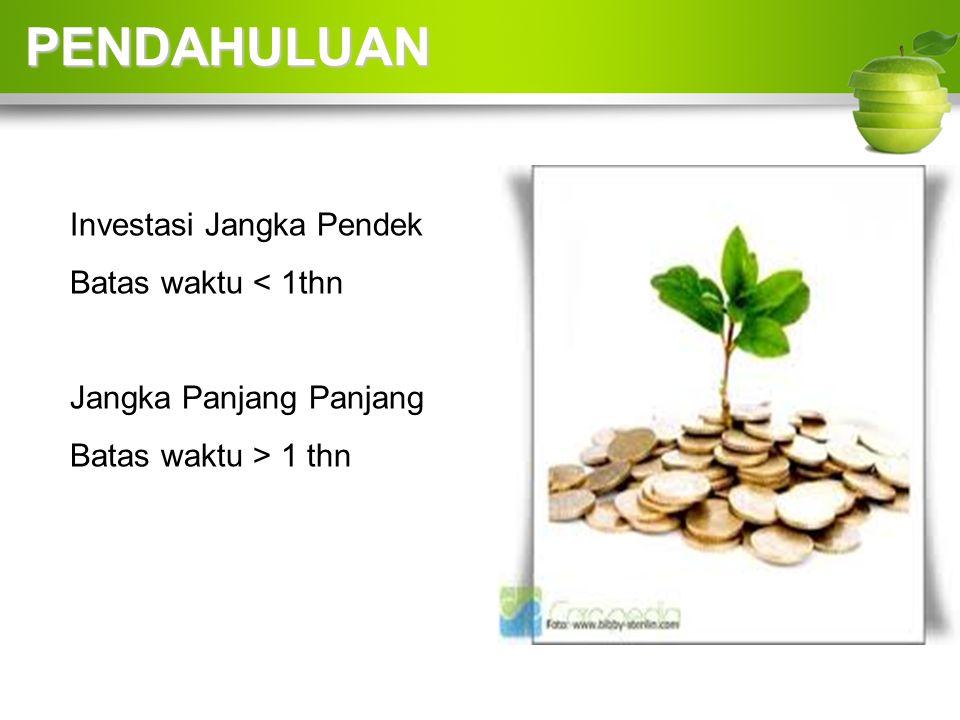 PENDAHULUAN Investasi Jangka Pendek Batas waktu < 1thn
