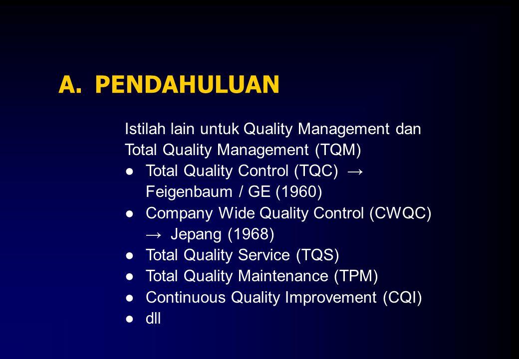 A. PENDAHULUAN Istilah lain untuk Quality Management dan