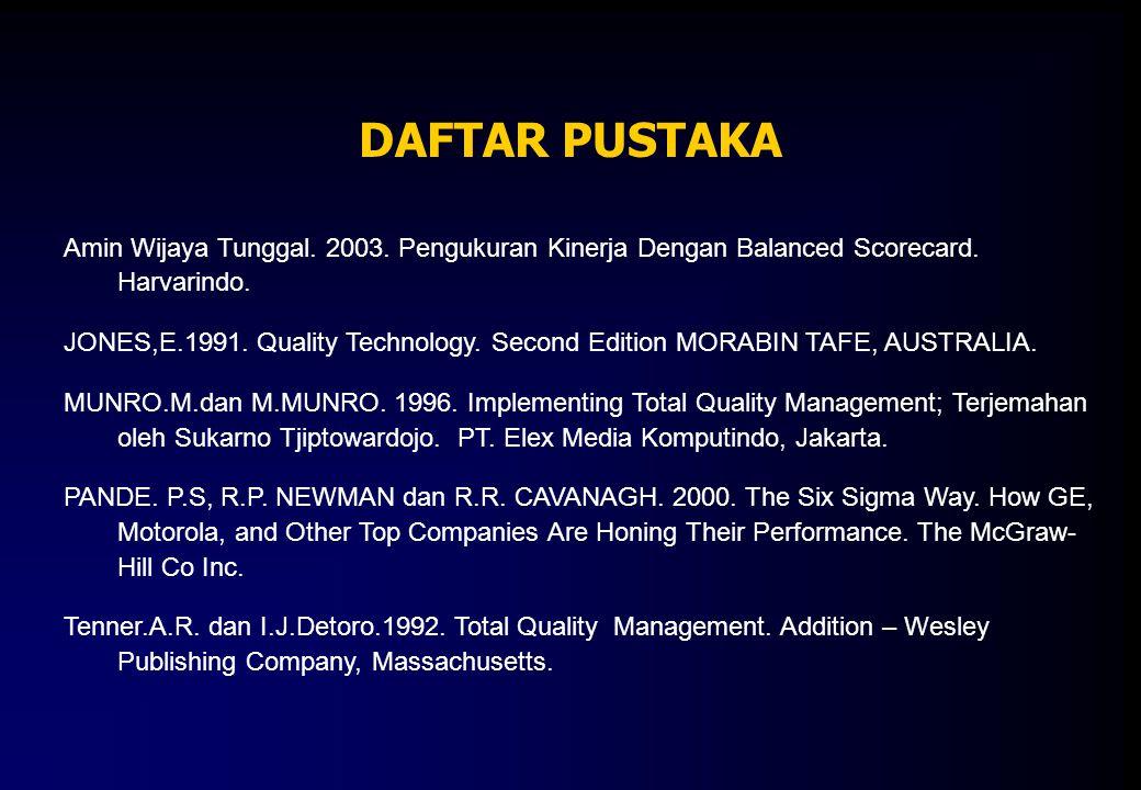 DAFTAR PUSTAKA Amin Wijaya Tunggal. 2003. Pengukuran Kinerja Dengan Balanced Scorecard. Harvarindo.