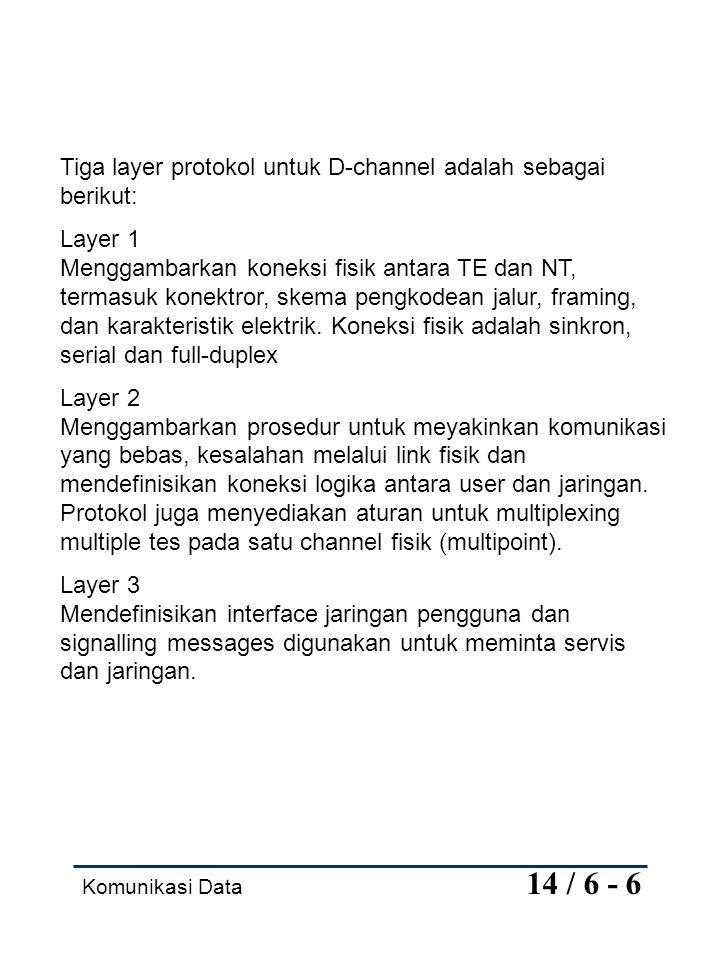 Tiga layer protokol untuk D-channel adalah sebagai berikut: