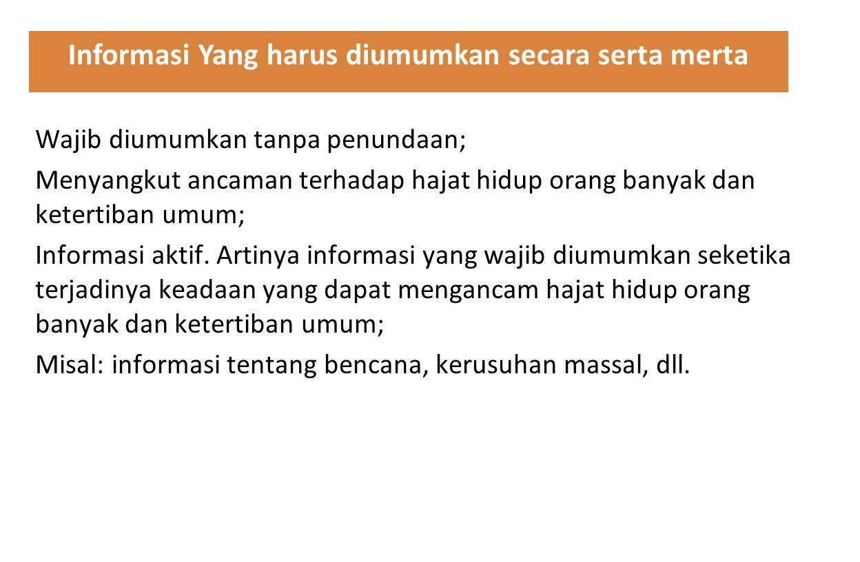 Informasi Yang harus diumumkan secara serta merta
