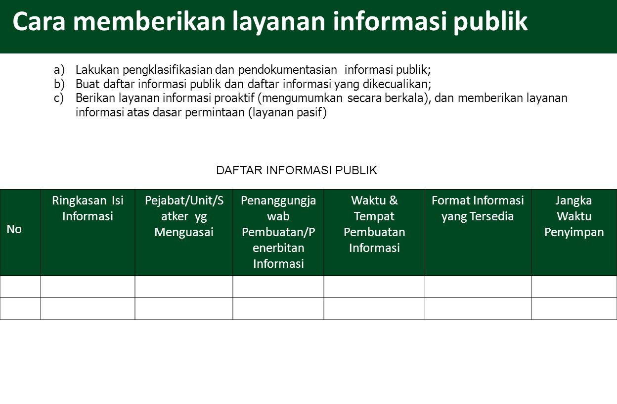 Cara memberikan layanan informasi publik