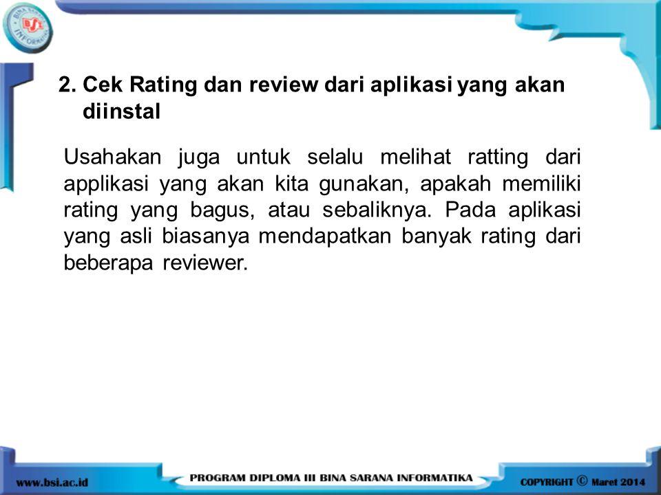 2. Cek Rating dan review dari aplikasi yang akan