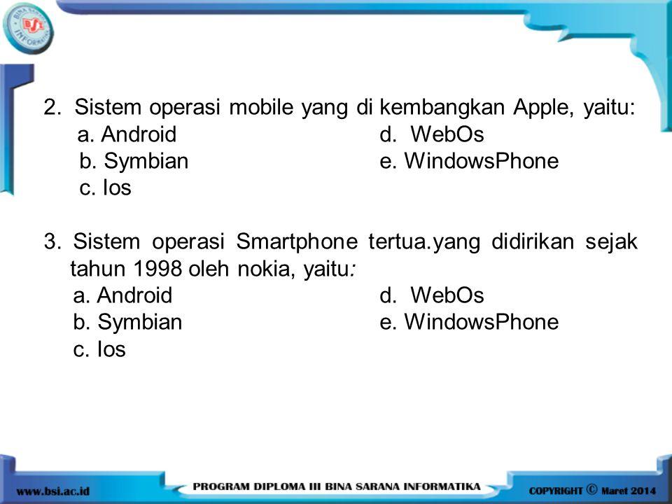 2. Sistem operasi mobile yang di kembangkan Apple, yaitu: