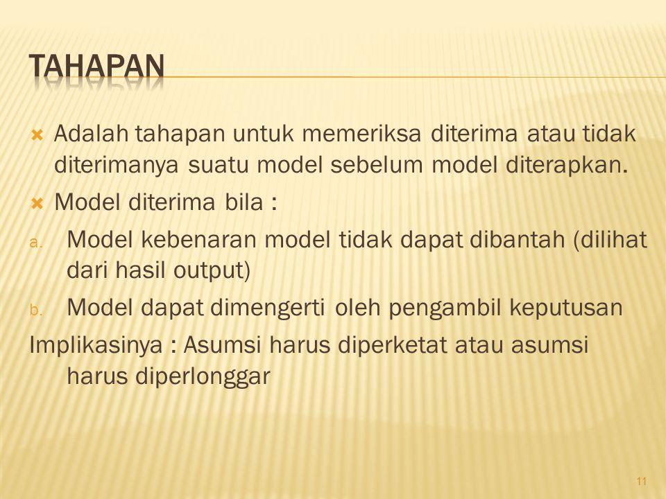 Tahapan Adalah tahapan untuk memeriksa diterima atau tidak diterimanya suatu model sebelum model diterapkan.