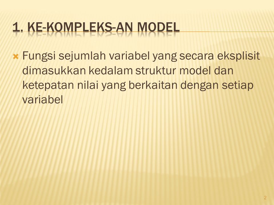 1. Ke-kompleks-an model