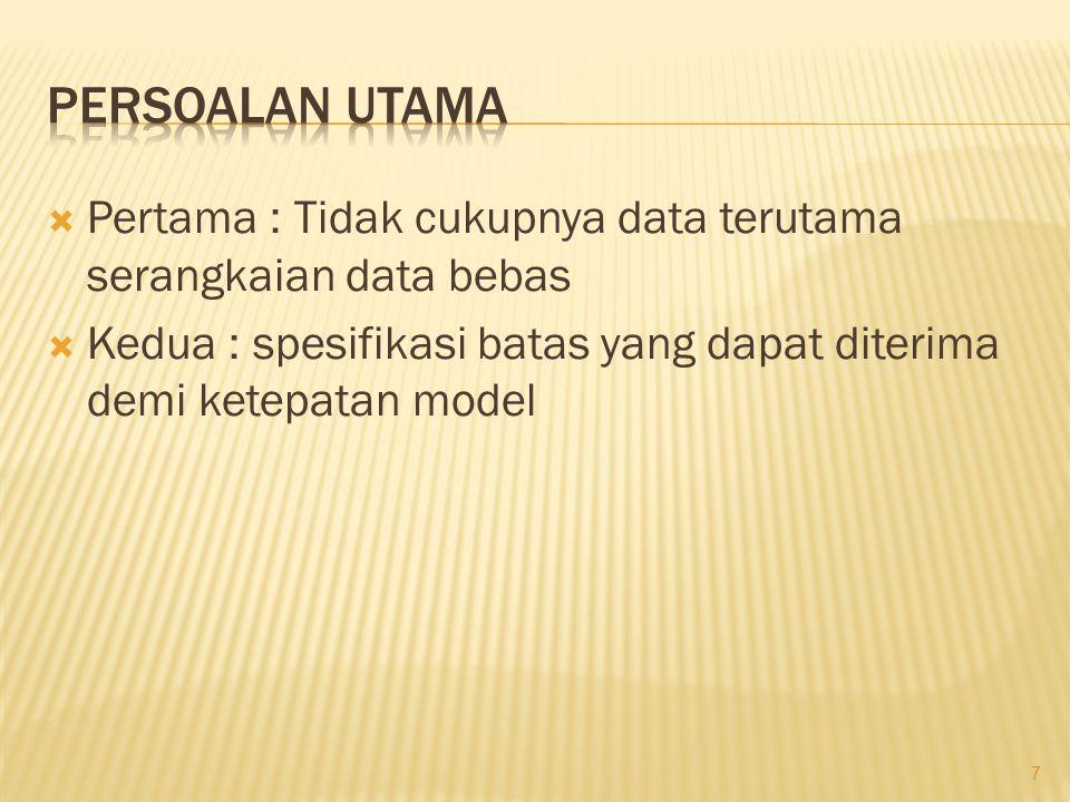 Persoalan utama Pertama : Tidak cukupnya data terutama serangkaian data bebas.