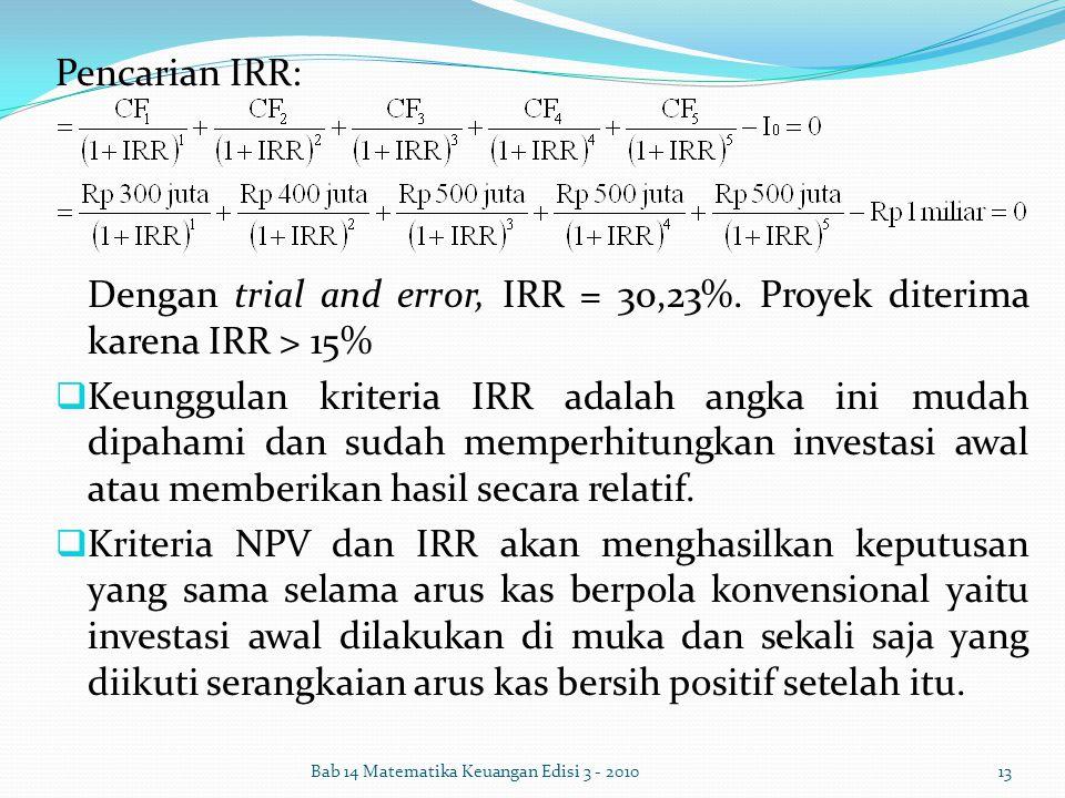 Pencarian IRR: Dengan trial and error, IRR = 30,23%. Proyek diterima karena IRR > 15%