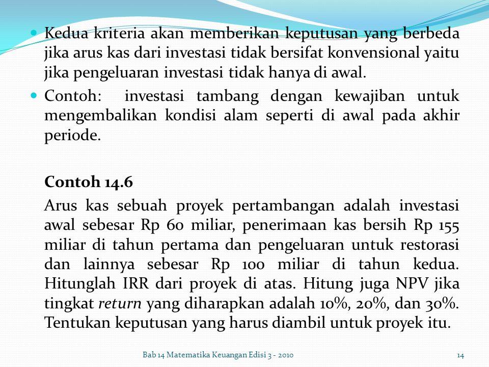 Kedua kriteria akan memberikan keputusan yang berbeda jika arus kas dari investasi tidak bersifat konvensional yaitu jika pengeluaran investasi tidak hanya di awal.