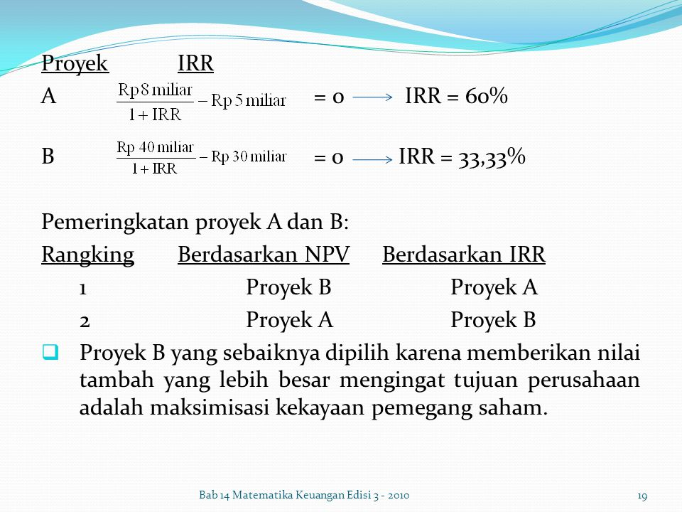Pemeringkatan proyek A dan B: Rangking Berdasarkan NPV Berdasarkan IRR