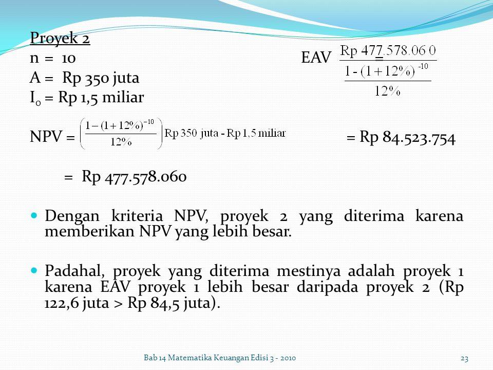 Proyek 2 n = 10 EAV = A = Rp 350 juta I0 = Rp 1,5 miliar