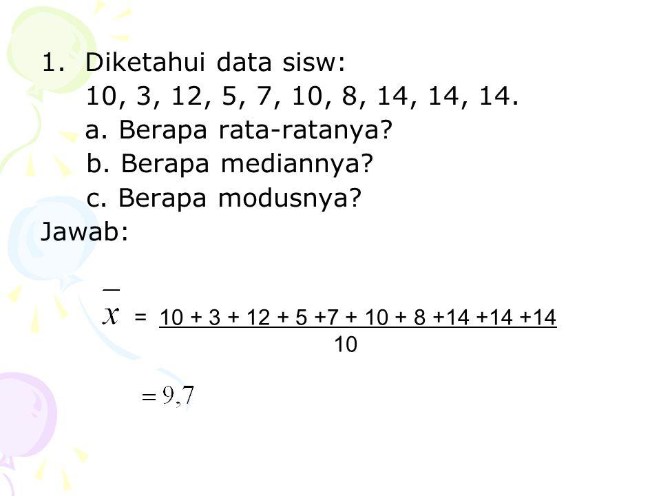 Diketahui data sisw: 10, 3, 12, 5, 7, 10, 8, 14, 14, 14. a. Berapa rata-ratanya b. Berapa mediannya