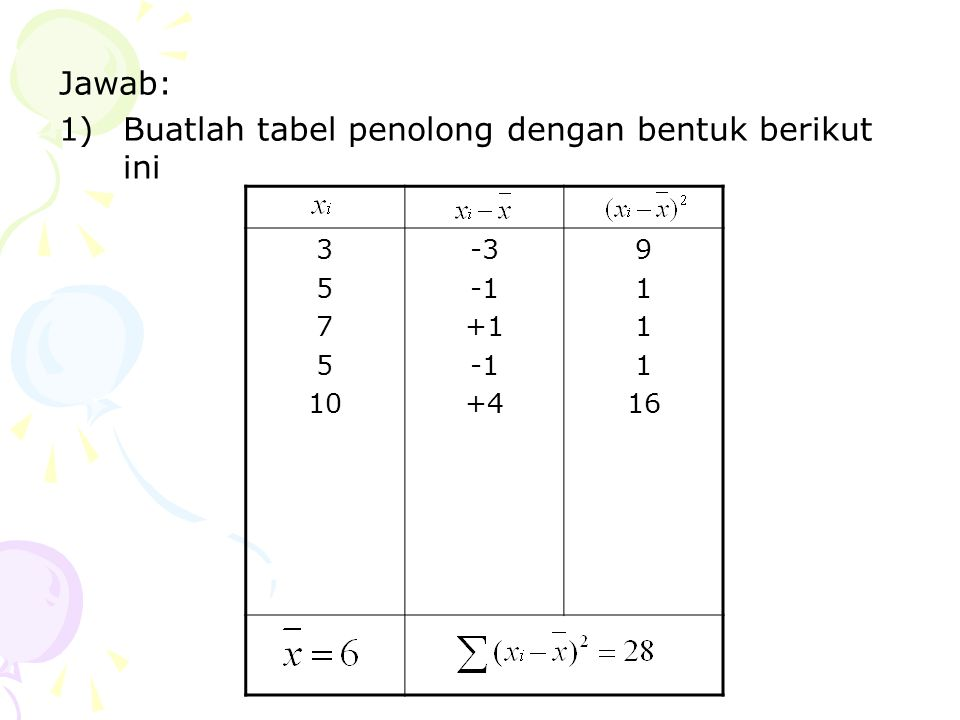 Buatlah tabel penolong dengan bentuk berikut ini