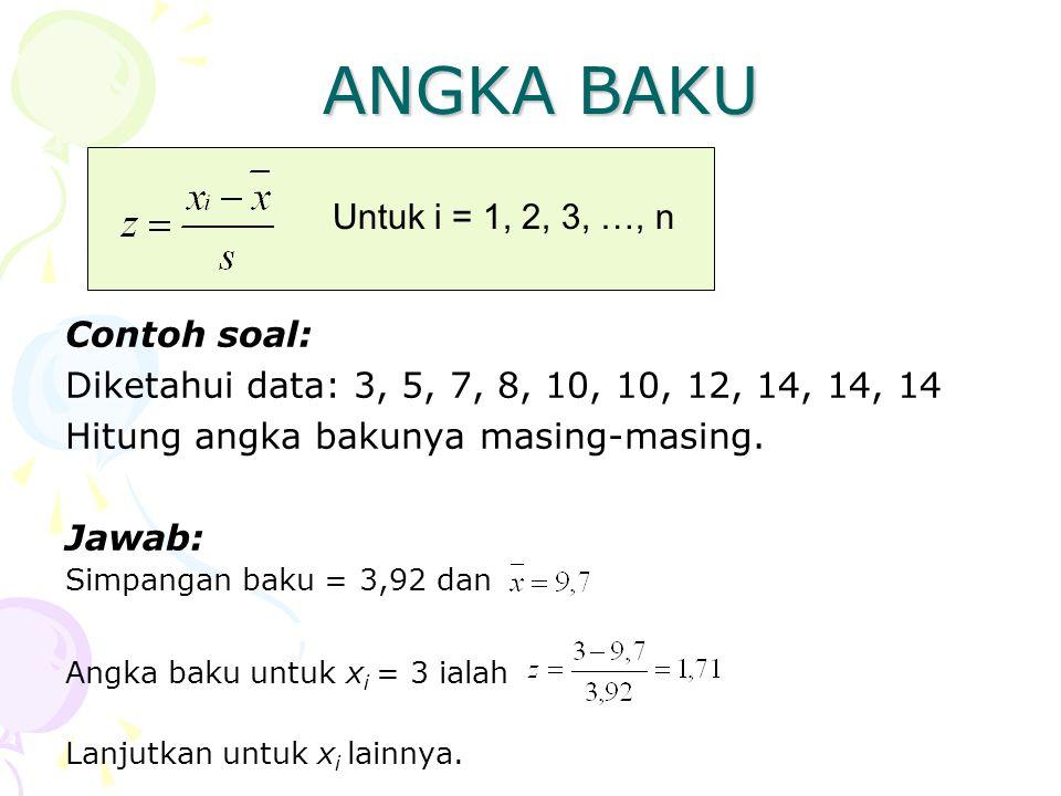 ANGKA BAKU Untuk i = 1, 2, 3, …, n Contoh soal: