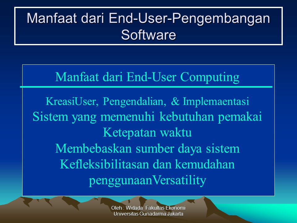 Manfaat dari End-User-Pengembangan Software