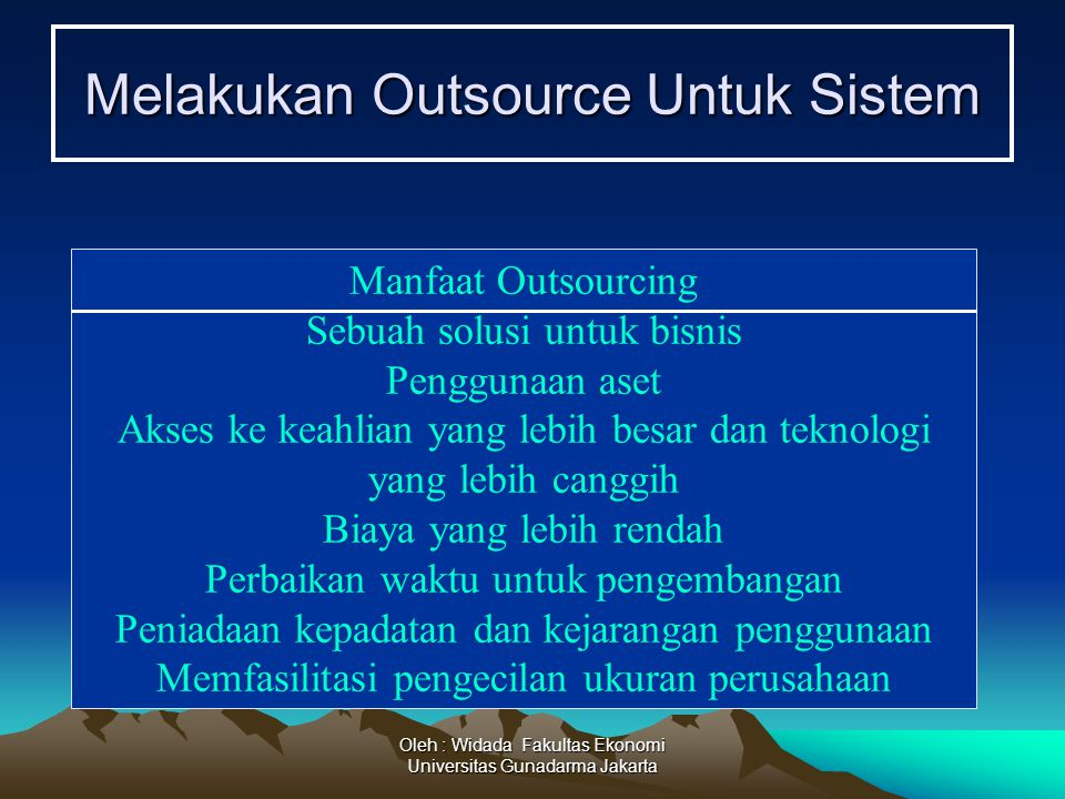 Melakukan Outsource Untuk Sistem
