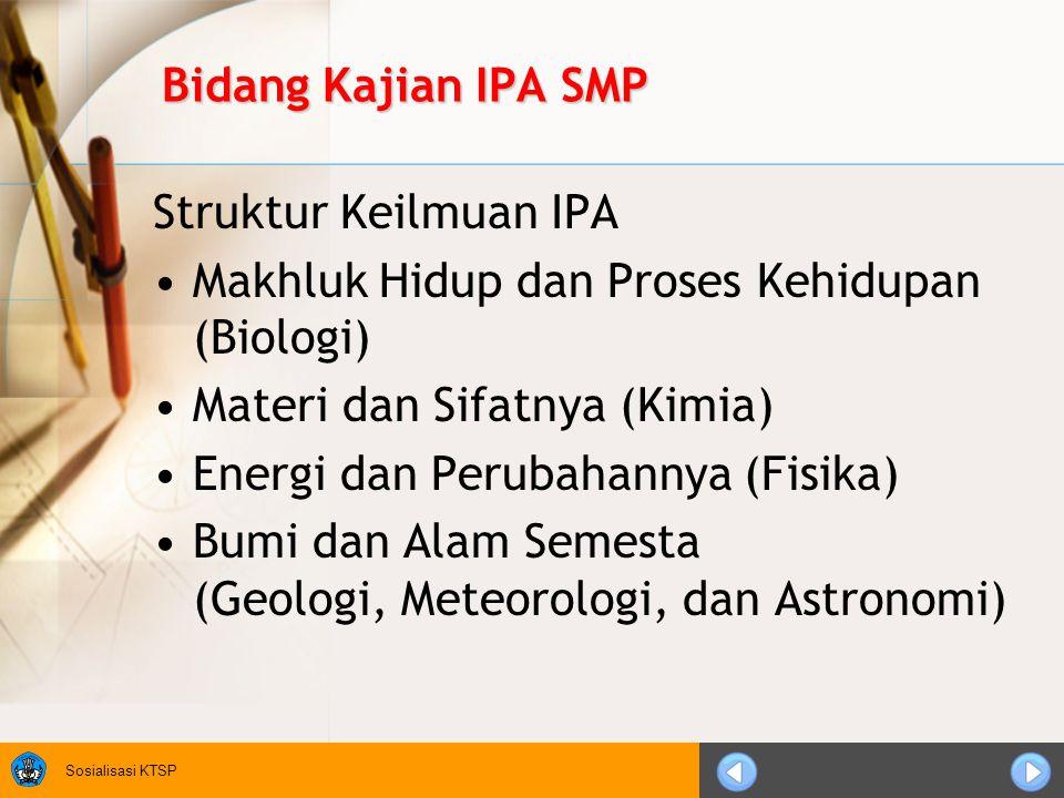 Bidang Kajian IPA SMP Struktur Keilmuan IPA. Makhluk Hidup dan Proses Kehidupan (Biologi) Materi dan Sifatnya (Kimia)