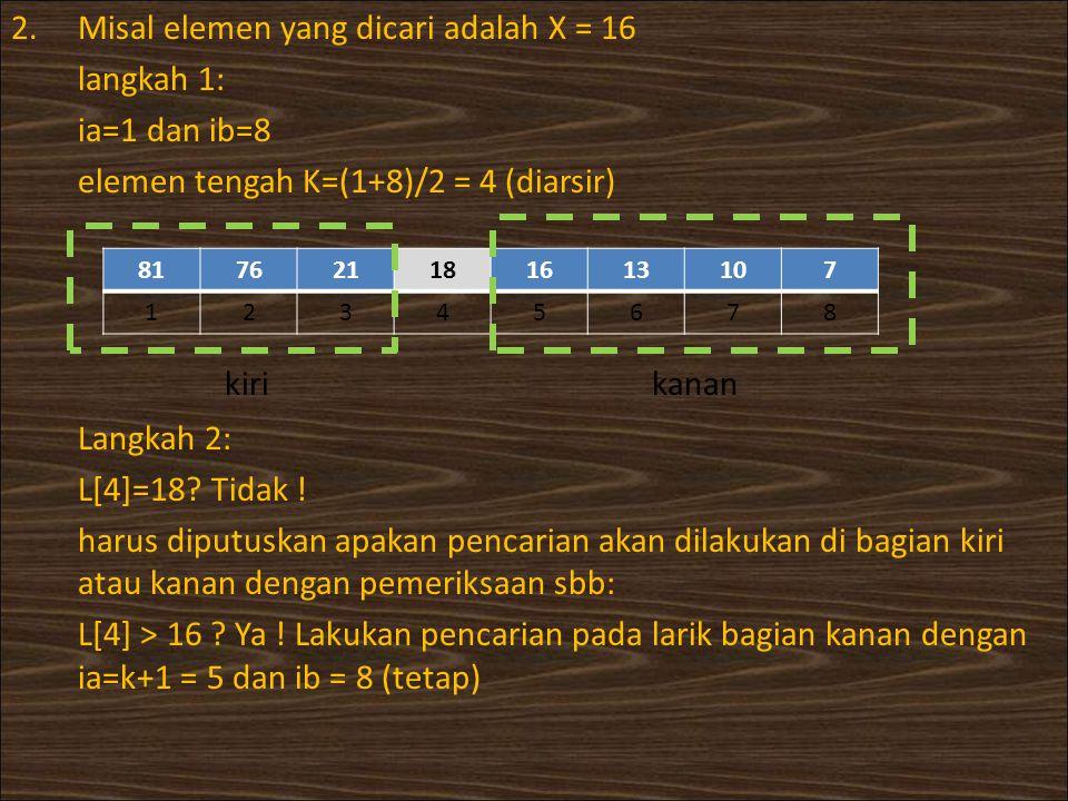 kiri kanan Misal elemen yang dicari adalah X = 16 langkah 1: