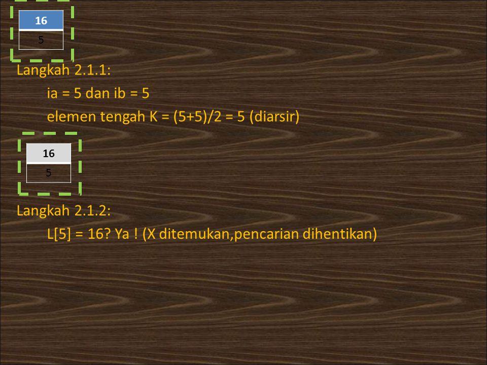elemen tengah K = (5+5)/2 = 5 (diarsir)