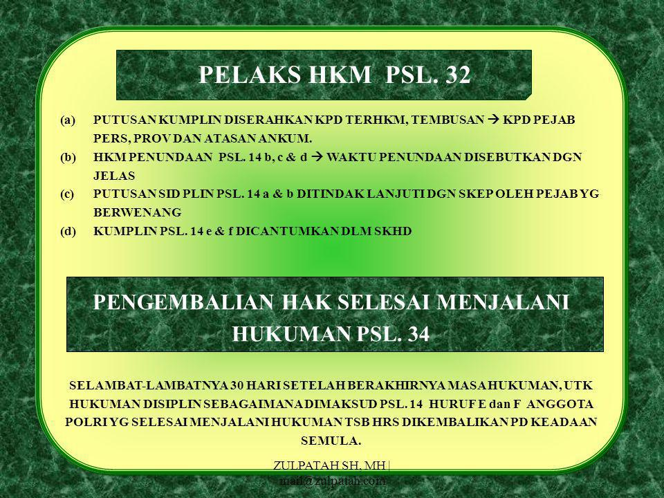 PENGEMBALIAN HAK SELESAI MENJALANI HUKUMAN PSL. 34